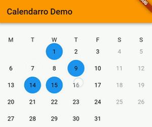 Flutter Calendar widget library